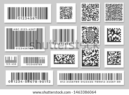 Barcode labels. Code stripes sticker, digital bar label and retail pricing bars labeling stickers. Industrial barcodes, customers qr code. Isolated symbols vector set #1463386064