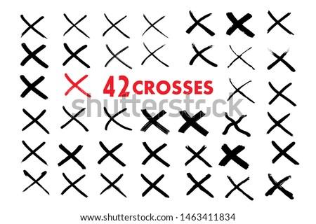 X red mark. Cross sign graphic symbol. Crossed brush strokes.