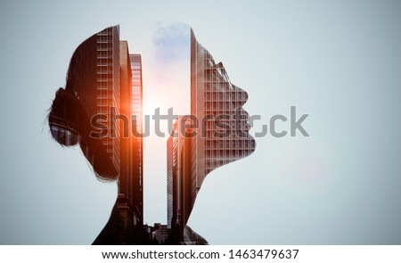 Double exposure of woman silhouette and modern city skyline. #1463479637