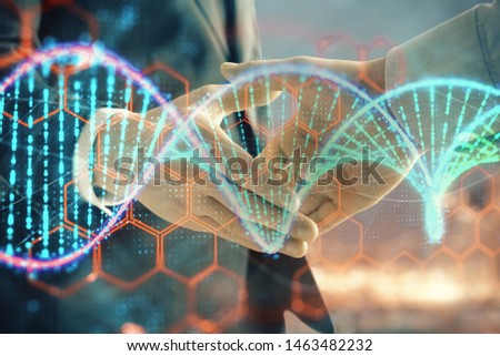 Multi exposure of DNA drawing hologram on city view background with handshake. Concept of education #1463482232