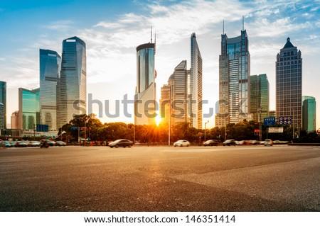 The century avenue of street scene in shanghai Lujiazui,China. Royalty-Free Stock Photo #146351414