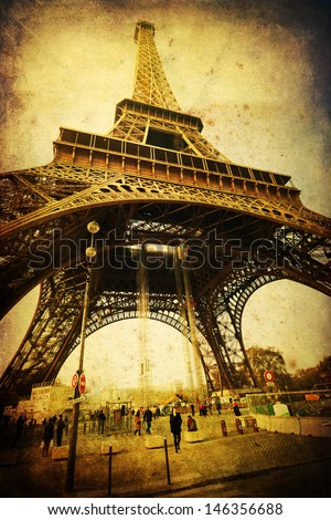 vintage style picture of the Eiffel Tower in Paris