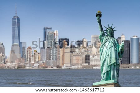 Statue of Liberty with Manhattan downtown  Skylines building in background, New York City , NYC USA. #1463617712