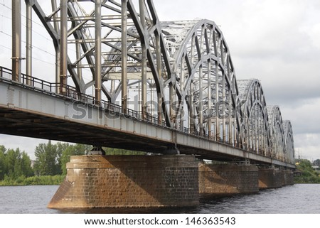 Railway bridge over river in Riga, Latvia #146363543