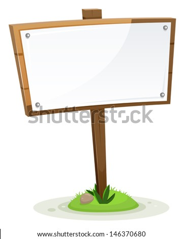 Spring Or Summer Rural Wood Sign/ Illustration of a spring or summer rural wooden cartoon wood sign with paper, isolated on white background