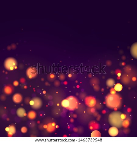 Festive purple and golden luminous background with colorful lights bokeh. Christmas concept Xmas greeting card. Magic holiday poster, banner. Night bright gold sparkles Vector Light abstract #1463739548