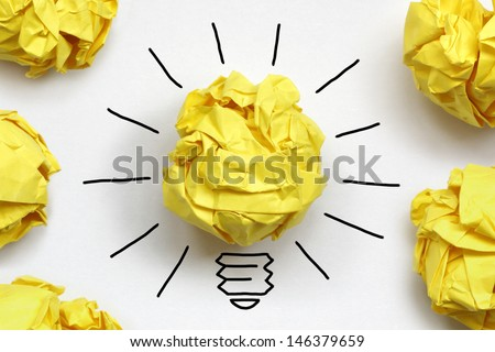 Inspiration concept crumpled paper light bulb metaphor for good idea Royalty-Free Stock Photo #146379659