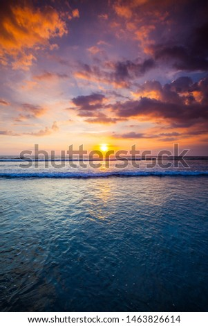 Radiant colorful sea beach sunset on Bali, Indonesia #1463826614