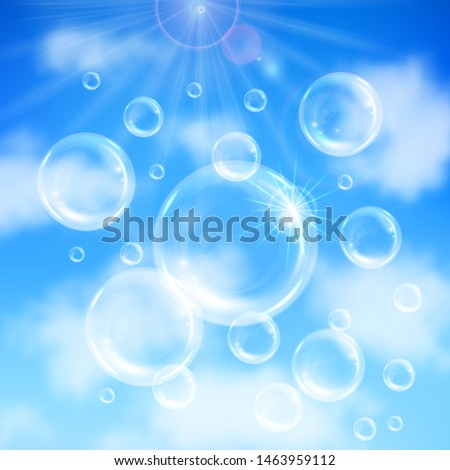 Realistic transparent floating soap bubbles on blue sky background. Design element for advertising booklet, flyer or poster #1463959112