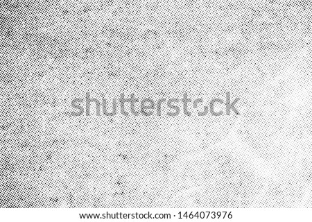 Subtle halftone vector texture overlay. Monochrome abstract splattered background. Royalty-Free Stock Photo #1464073976