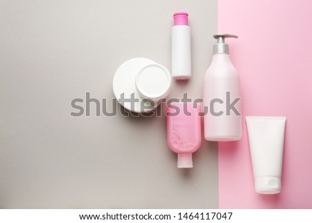 Set of cosmetic products on color background #1464117047