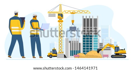 Male and female engineers in hard hats discuss new project while using tablet computer and laptop They're making calculated engineering decisions They work at construction site Vector illustration Royalty-Free Stock Photo #1464141971