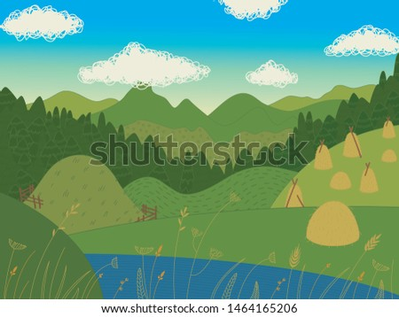 View of mountains. Blue sky with clouds. Pine trees on hills. Landscape with mountains and river. Ukrainian Carpathian Mountains. #1464165206
