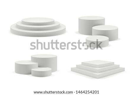 Podium realistic. Round and square empty stages and podium stairs vector 3d template. Illustration of pedestal and platform, stand stage, cylinder and square #1464254201