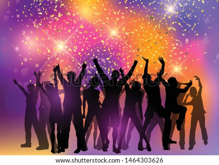 Silhouette of a party crowd on an abstract background with confetti #1464303626