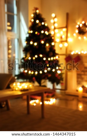Beautiful interior of room decorated for Christmas, blurred view #1464347015