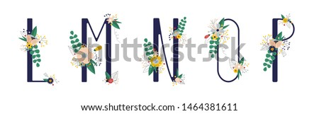 Сollection with 5 letter of floral alphabet - l, m, n, o, p. Spring and summer alphabet decorated with bouquets of flowers. Hand drawn isolated vector illustration #1464381611