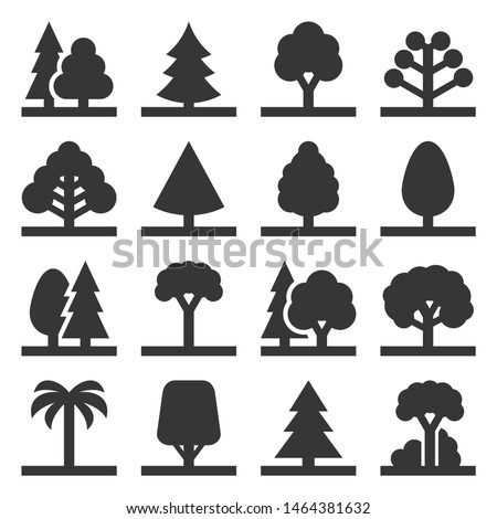 Tree Icons Set on White Background. Vector #1464381632
