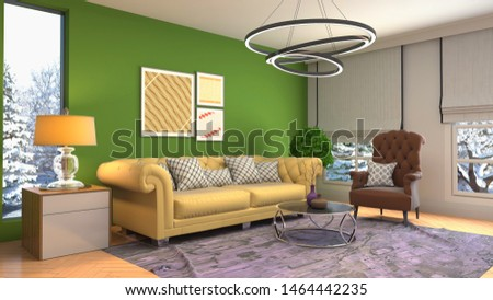 Interior of the living room. 3D illustration. #1464442235