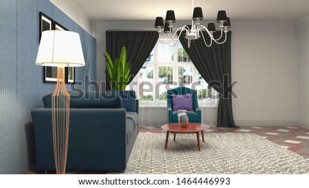 Interior of the living room. 3D illustration. #1464446993