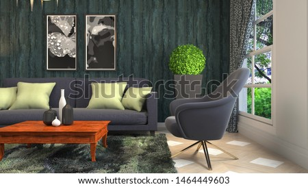 Interior of the living room. 3D illustration. #1464449603