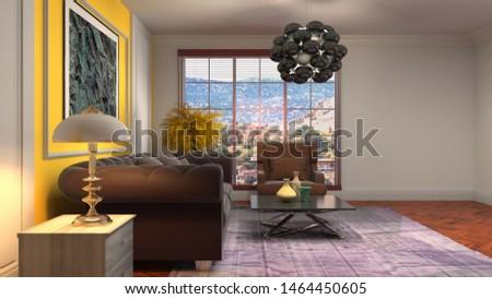 Interior of the living room. 3D illustration. #1464450605