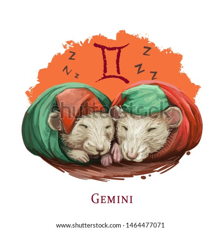 Gemini creative digital illustration of astrological sign. Rat or mouse symboll of 2020 year signs in zodiac. Horoscope air element. Logo sign with twins. Graphic design clip art for web and print
