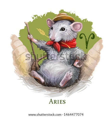 Aries creative digital illustration of astrological sign. Rat or mouse symboll of 2020 year signs in zodiac. Horoscope fire element. Logo sign with ram horns. Clip art for web and print. Add any text