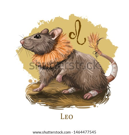 Leo creative digital illustration of astrological sign. Rat or mouse symboll of 2020 year signs in zodiac. Horoscope fire element. Logo sign with lion head. Graphic design clip art for web and print