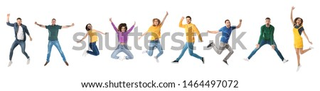 Collage of emotional people jumping on white background. Banner design