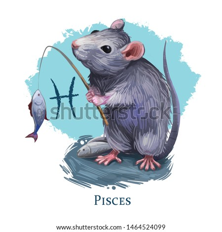 Pisces creative digital illustration of astrological sign. Rat or mouse symboll of 2020 year signs in zodiac. Horoscope water element. Logo sign with fish. Graphic design clip art for web and print.
