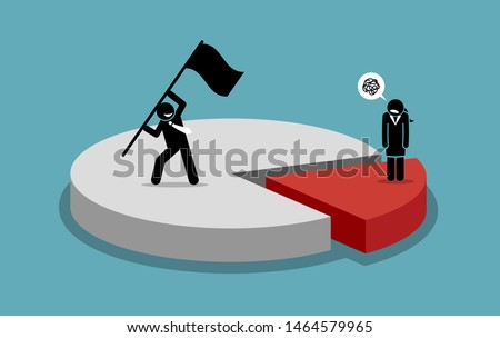 Gender inequality and male domination. Vector artwork depicts man control a large portion and woman are not happy. Concept of gender inequality, discrimination, sexism, unequal rights, and bias.