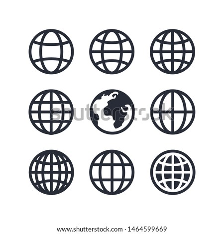 Global vector icon set, globe icon symbol set, Web icon set vector. website, homepage icon set, mobile app  #1464599669