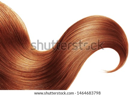 Henna hair isolated on white background. Long ponytail