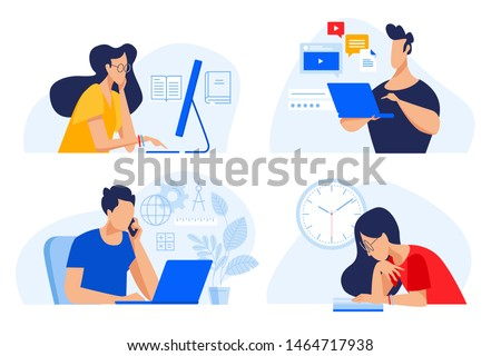 Flat design concept of online education, training and courses, learning, video tutorials. Vector illustration for website banner, marketing material, presentation template, online advertising. Royalty-Free Stock Photo #1464717938