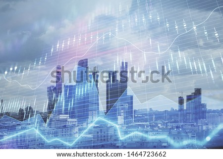 Double exposure of financial graph on downtown veiw background. Concept of stock market research and analysis #1464723662
