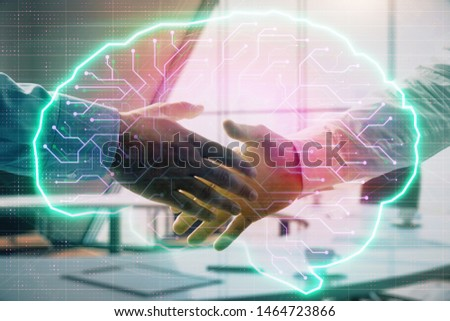 Double exposure of brain drawing on office background with two men handshake. Concept of innovation #1464723866