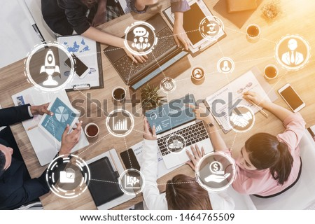 Start Up Business of Creative People Concept - Modern graphic interface showing symbol of entrepreneurship, fund, and project plan to start a new small business by smart group of entrepreneur. #1464765509