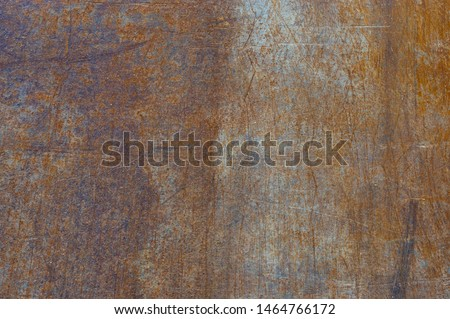 Steel plate as a drive plate or drive-over plates rusted, scratched and dirty when used on construction site as background with different designs #1464766172