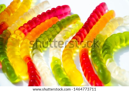 Coloured jelly worms funny background #1464773711