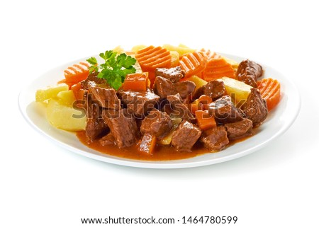 Hungarian goulash, beef, pork stew with potatoes, isolated on white background. #1464780599