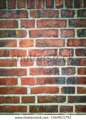 Orange brick wall texture with white joints. #1464815792