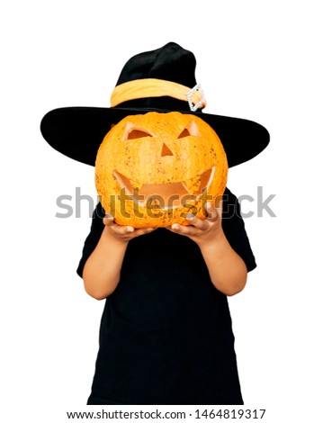 Halloween 2019. Series of isolated images of cute little kid in Halloween costume holding carved pumpkin on white background
