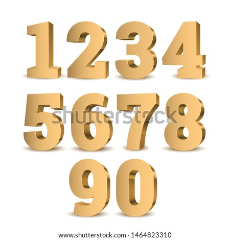 Gold 3d numbers. Symbol set. Vector illustration Royalty-Free Stock Photo #1464823310