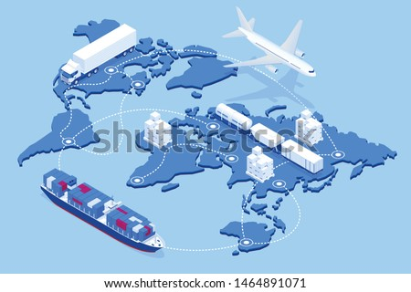Global logistics network isometric illustration Icons set of air cargo trucking rail transportation maritime shipping On-time delivery Vehicles designed to carry large numbers of cargo #1464891071
