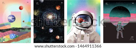 Vector illustration of space, cosmonaut and galaxy for poster, banner or background. Abstract drawings of the future, science fiction and astronomy  #1464911366