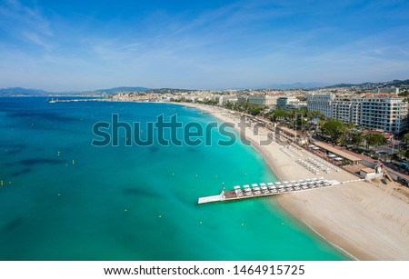 Panorama of Cannes, Cote d'Azur, France, South Europe. Nice city and luxury resort of French riviera. Famous tourist destination with nice beach and Promenade de la Croisette on Mediterranean sea Royalty-Free Stock Photo #1464915725