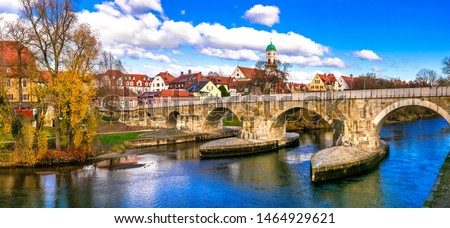 Beautiful towns of Germany - scenic Regensburg over Danube river #1464929621
