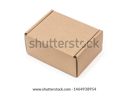 Closed craft cartoon box isolated on white background. Isometric view. #1464938954