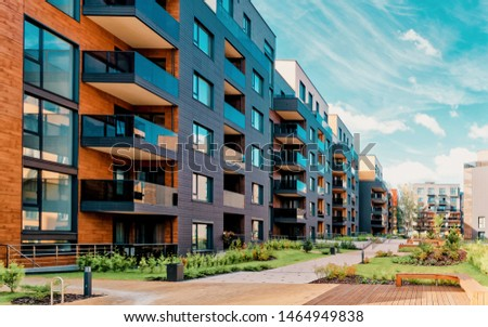 Vilnius, Lithuania - October 1, 2016: Europe modern complex of residential buildings. And outdoor facilities. #1464949838
